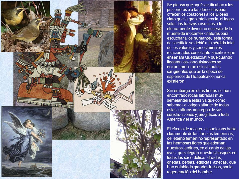 Se piensa que aquí sacrificaban a los prisioneros o a las doncellas para ofrecer los corazones a los Dioses claro que la gran inteligencia, el logos solar, las fuerzas cósmicas o lo eternamente divino no necesita de la muerte de inocentes criaturas para escuchar a los humanos, esta forma de sacrificio se debió a la pérdida total de los valores y conocimientos relacionados con el auto-sacrificio que enseñará Quetzalcoatl y que cuando llegaron los conquistadores se encontraron con estos rituales sangrientos que en la época de esplendor de Huapalcalco nunca existieron.