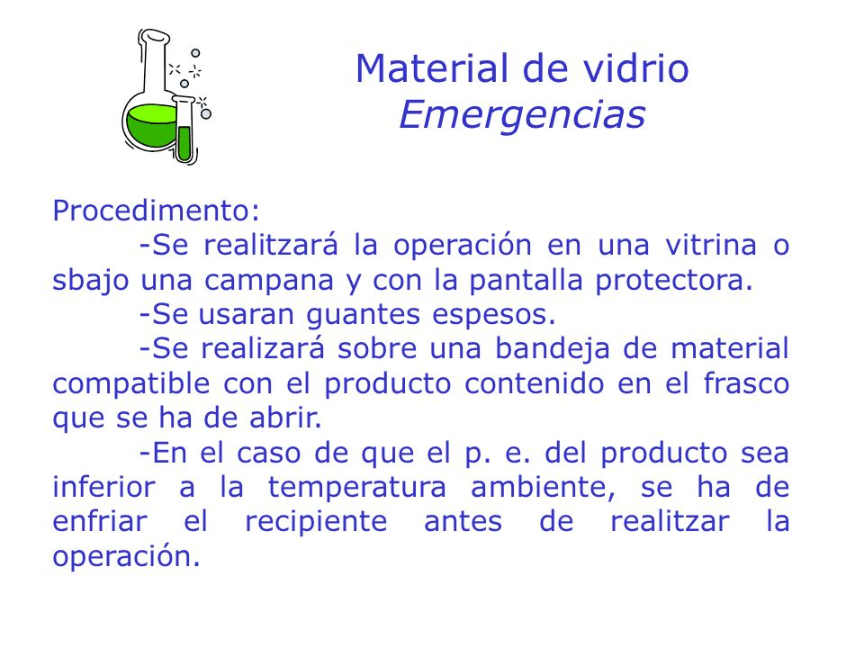 Material de vidrio Emergencias