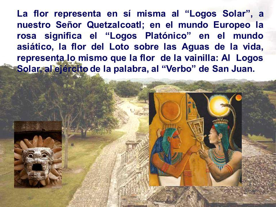 La flor representa en sí misma al Logos Solar , a nuestro Señor Quetzalcoatl; en el mundo Europeo la rosa significa el Logos Platónico en el mundo asiático, la flor del Loto sobre las Aguas de la vida, representa lo mismo que la flor de la vainilla: Al Logos Solar, al ejército de la palabra, al Verbo de San Juan.