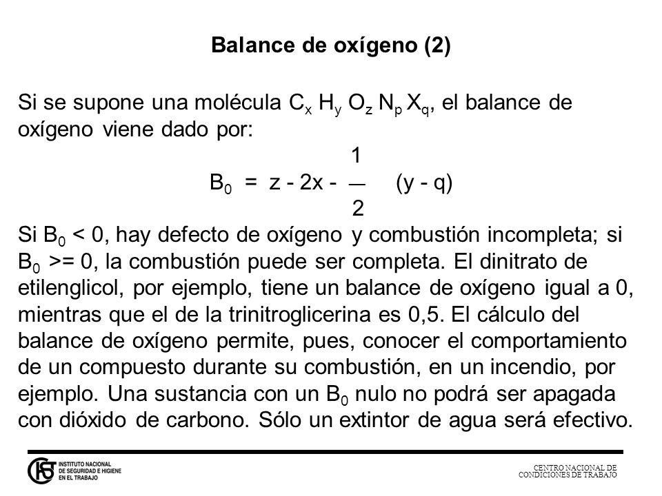 Balance de oxígeno (2) Si se supone una molécula Cx Hy Oz Np Xq, el balance de oxígeno viene dado por: