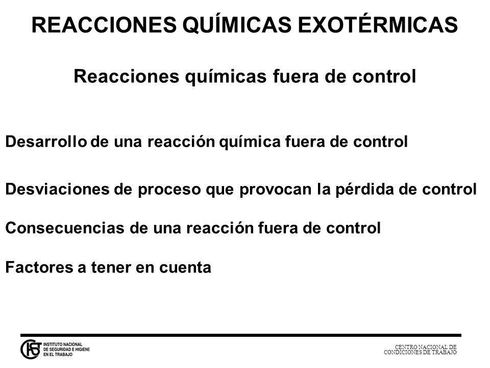 REACCIONES QUÍMICAS EXOTÉRMICAS Reacciones químicas fuera de control