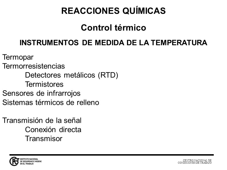 INSTRUMENTOS DE MEDIDA DE LA TEMPERATURA