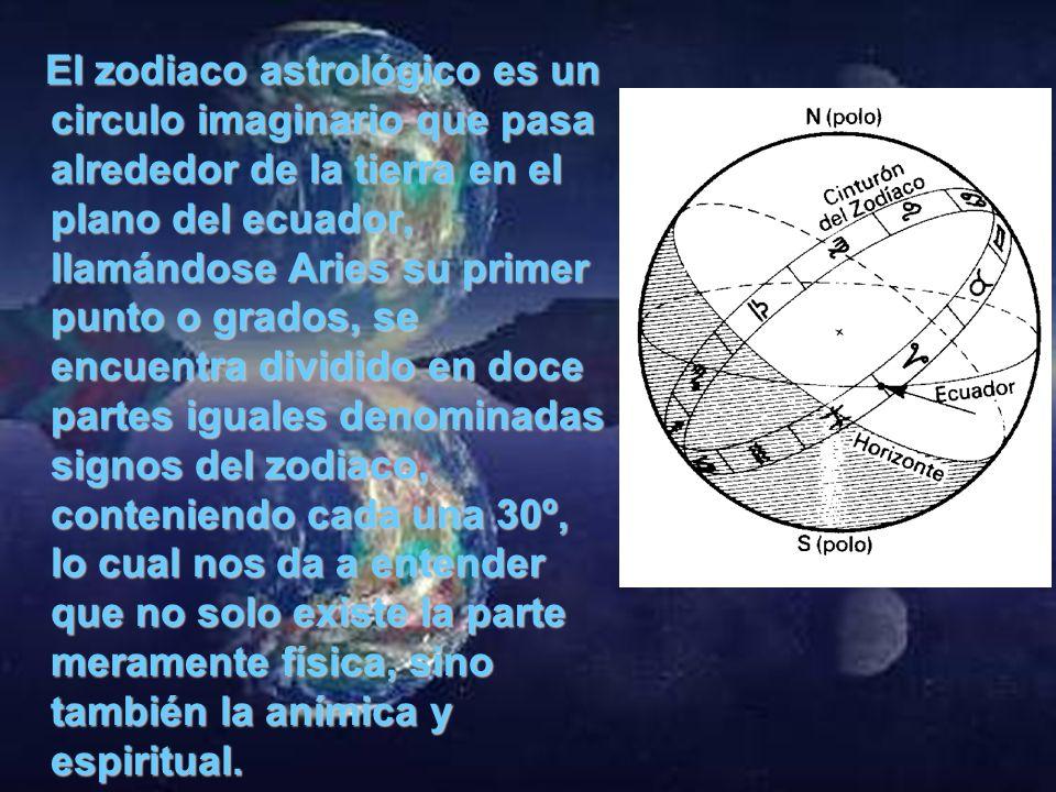 El zodiaco astrológico es un circulo imaginario que pasa alrededor de la tierra en el plano del ecuador, llamándose Aries su primer punto o grados, se encuentra dividido en doce partes iguales denominadas signos del zodiaco, conteniendo cada una 30º, lo cual nos da a entender que no solo existe la parte meramente física, sino también la anímica y espiritual.