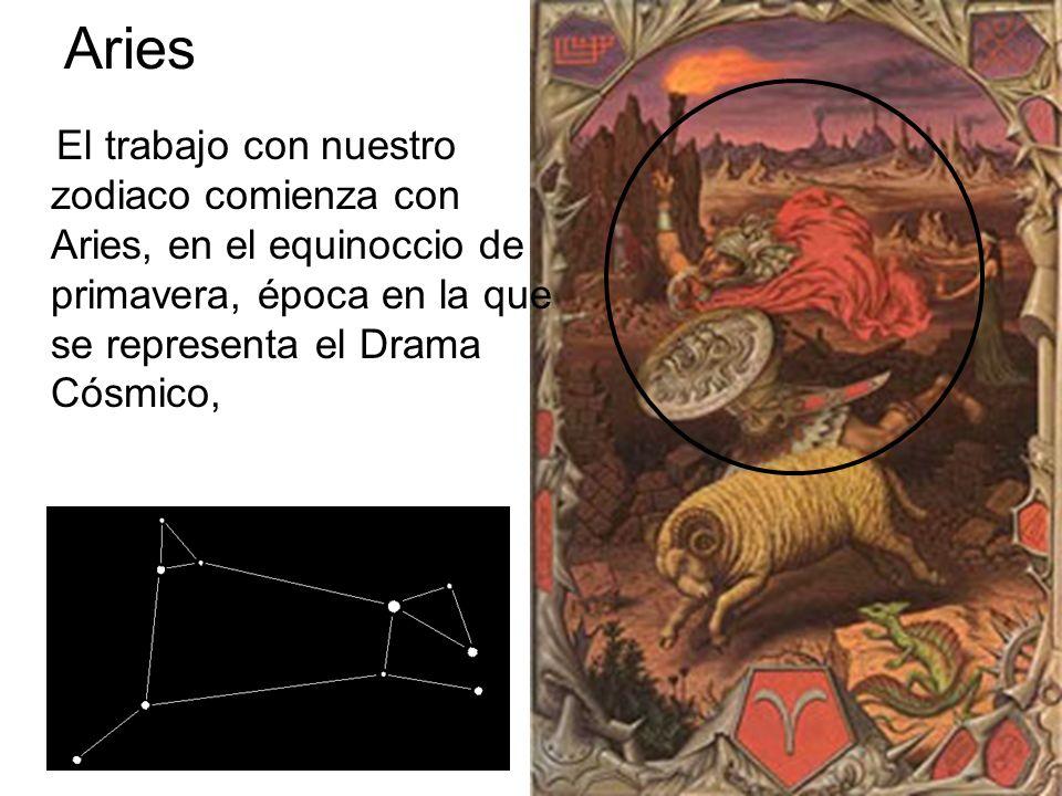 AriesEl trabajo con nuestro zodiaco comienza con Aries, en el equinoccio de primavera, época en la que se representa el Drama Cósmico,