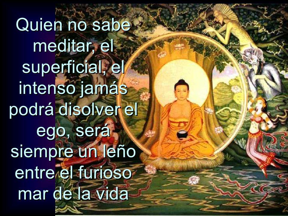 Quien no sabe meditar, el superficial, el intenso jamás podrá disolver el ego, será siempre un leño entre el furioso mar de la vida