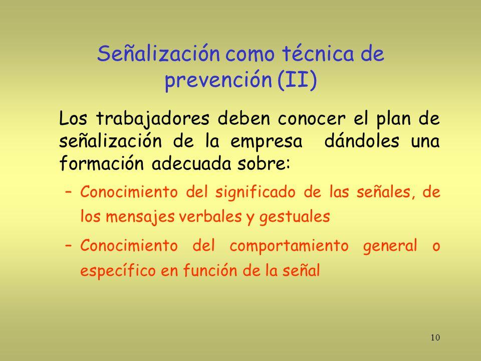 Señalización como técnica de prevención (II)