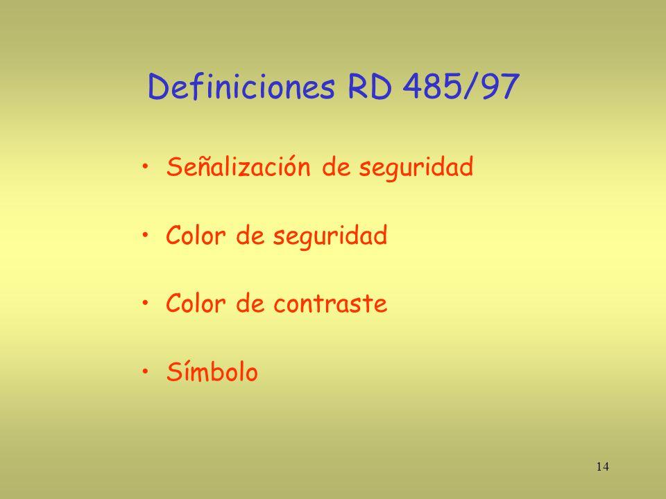 Definiciones RD 485/97 Señalización de seguridad Color de seguridad