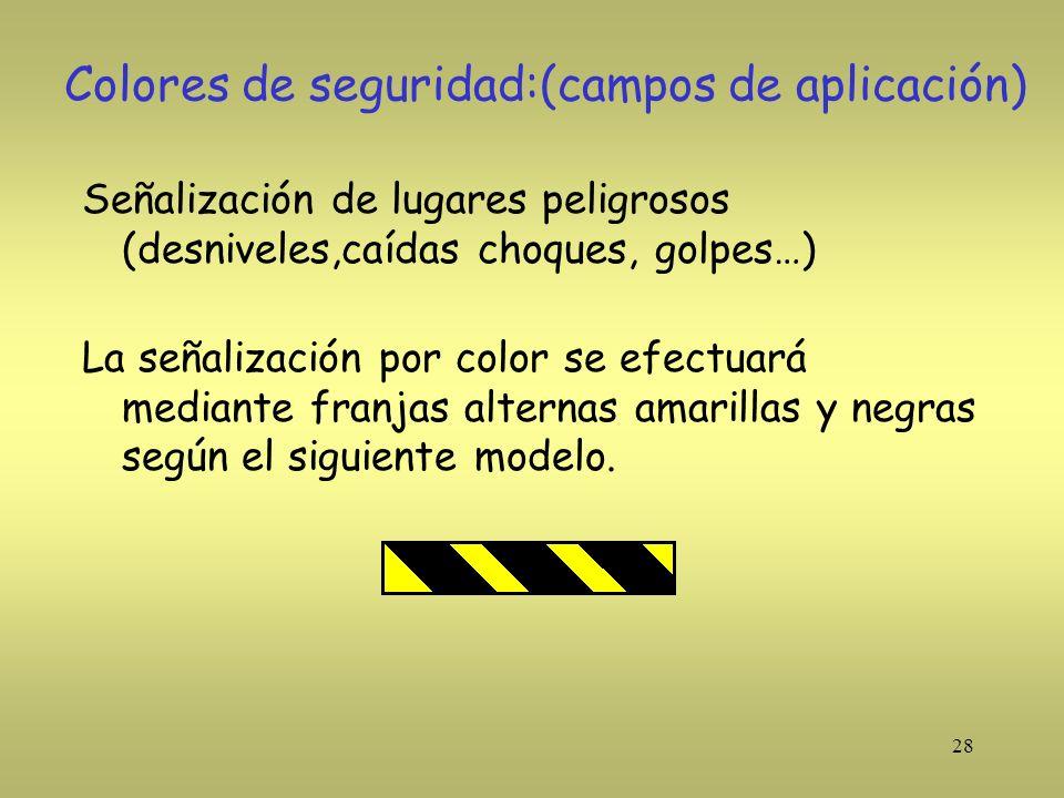Colores de seguridad:(campos de aplicación)