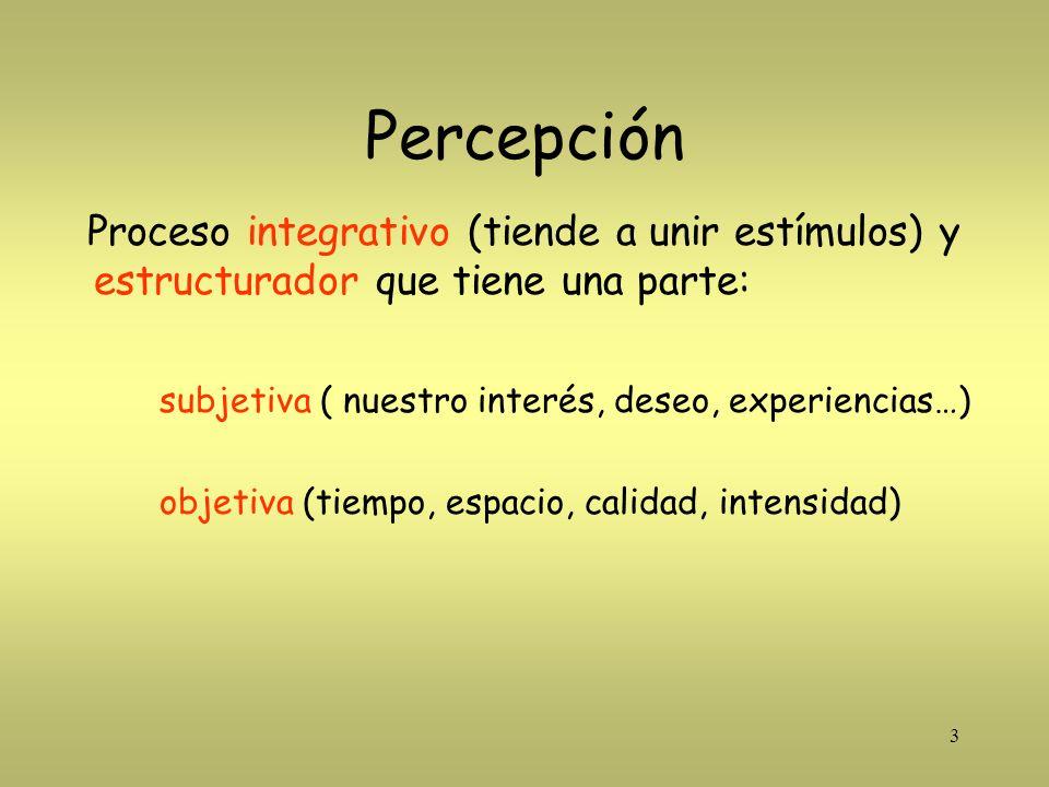 Percepción Proceso integrativo (tiende a unir estímulos) y estructurador que tiene una parte: subjetiva ( nuestro interés, deseo, experiencias…)