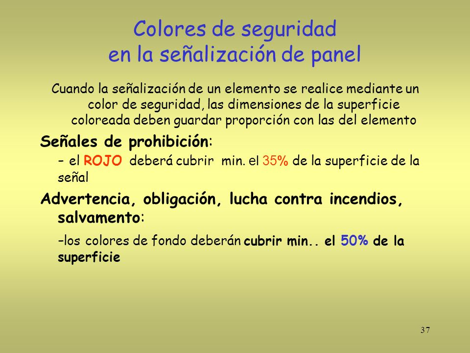 Colores de seguridad en la señalización de panel