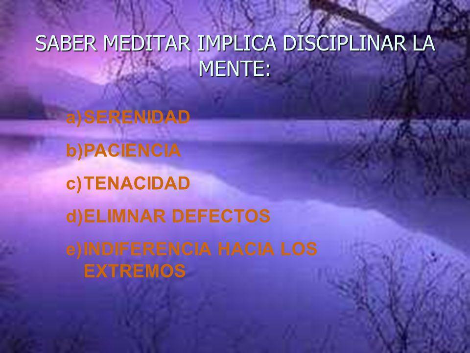 SABER MEDITAR IMPLICA DISCIPLINAR LA MENTE: