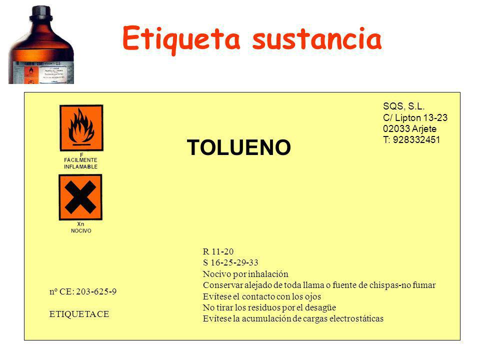 Etiqueta sustancia TOLUENO SQS, S.L. C/ Lipton 13-23 02033 Arjete