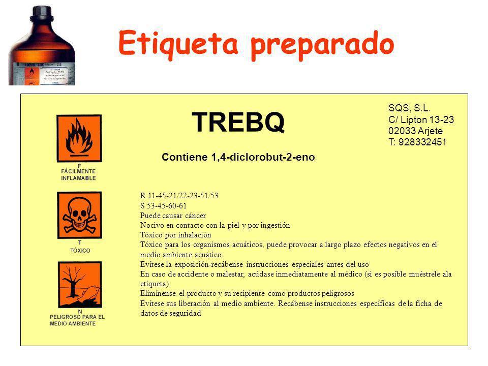 Etiqueta preparado TREBQ Contiene 1,4-diclorobut-2-eno SQS, S.L.