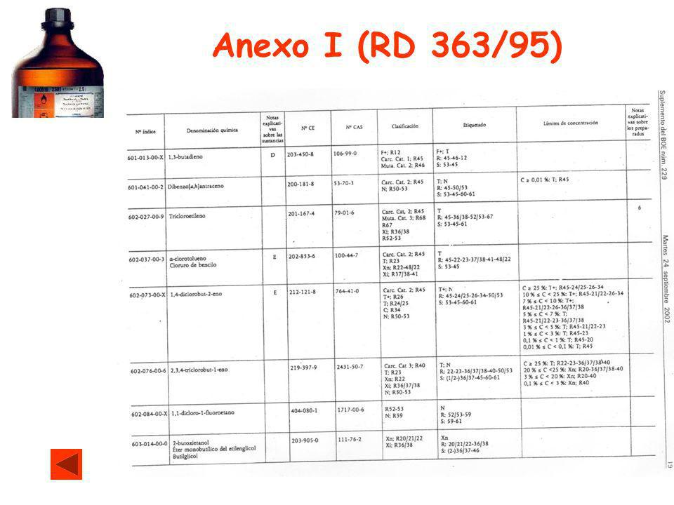 Anexo I (RD 363/95)