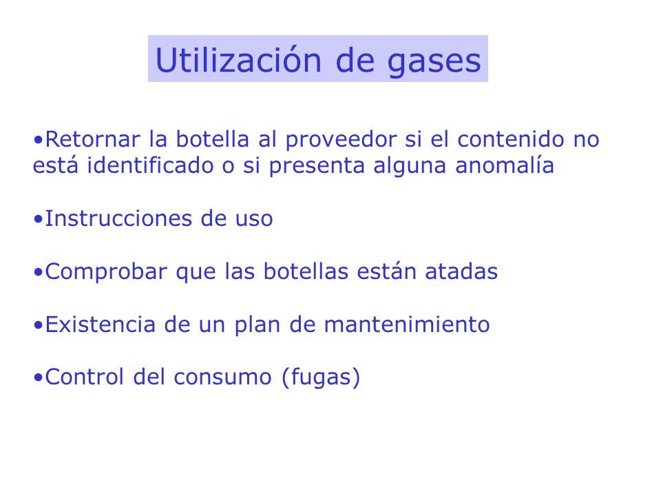 Utilización de gasesRetornar la botella al proveedor si el contenido no está identificado o si presenta alguna anomalía.