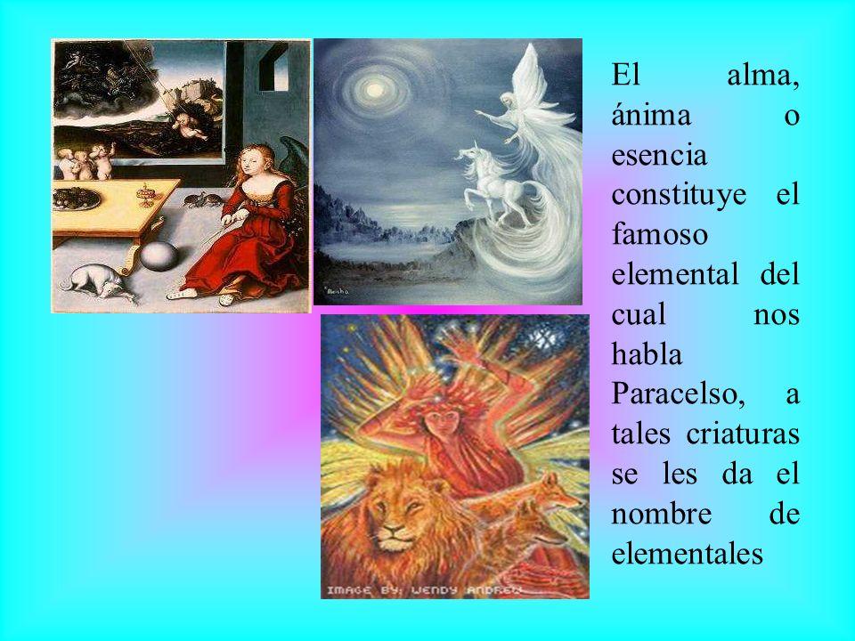 El alma, ánima o esencia constituye el famoso elemental del cual nos habla Paracelso, a tales criaturas se les da el nombre de elementales