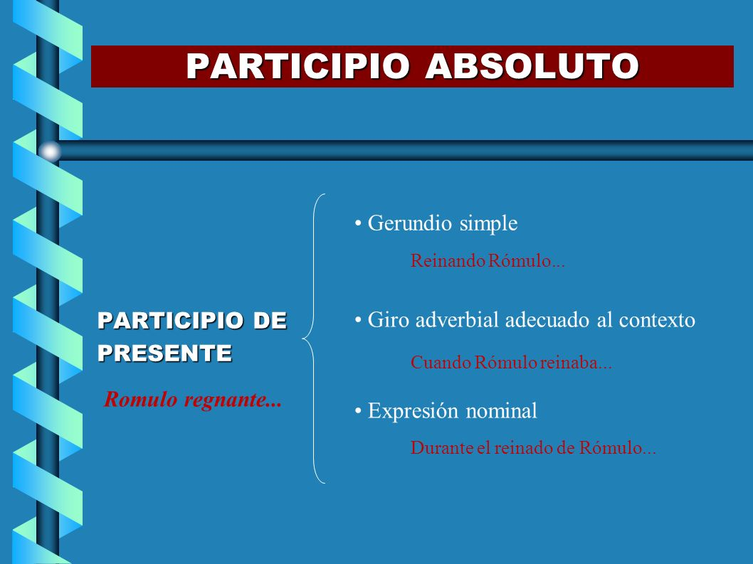 PARTICIPIO ABSOLUTO Gerundio simple