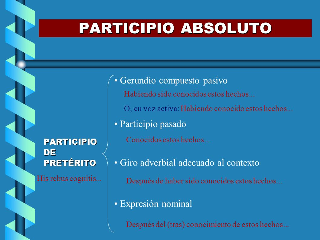PARTICIPIO ABSOLUTO Gerundio compuesto pasivo Participio pasado