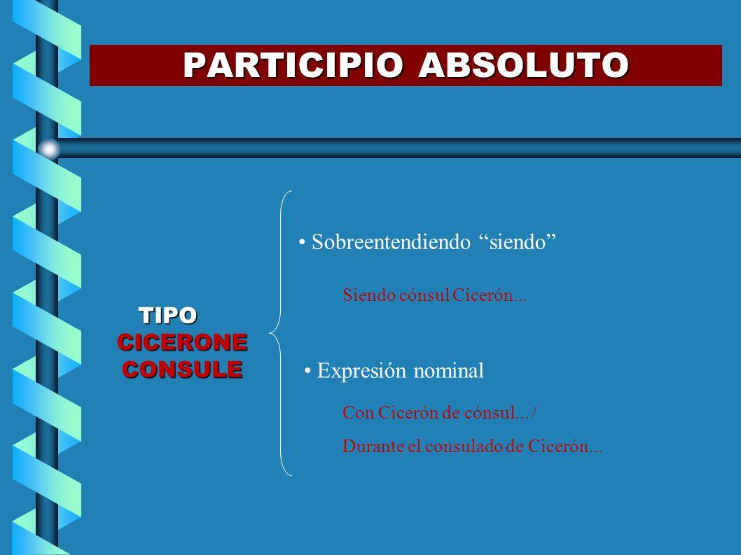 PARTICIPIO ABSOLUTO Sobreentendiendo siendo TIPO CICERONE CONSULE