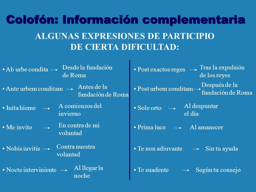 Colofón: Información complementaria