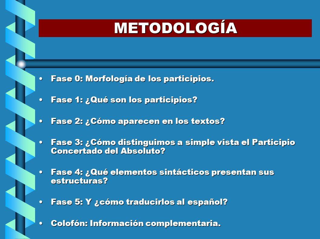 METODOLOGÍA Fase 0: Morfología de los participios.