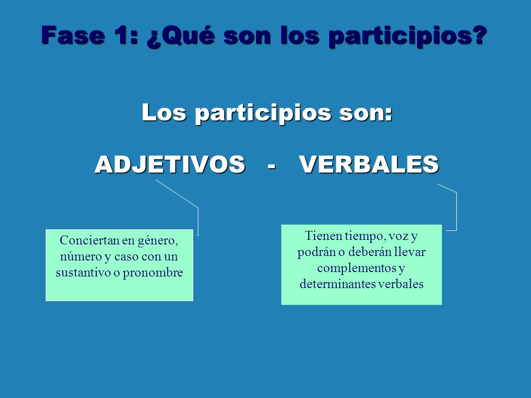 Fase 1: ¿Qué son los participios