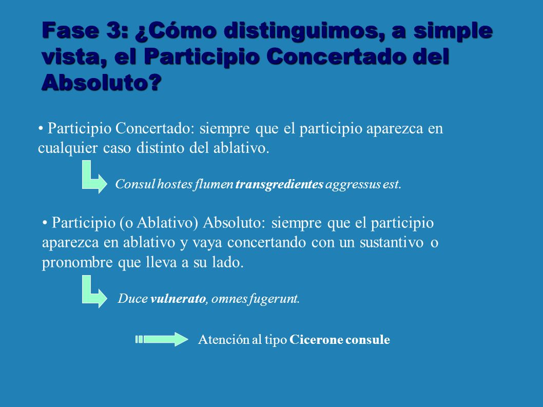 Fase 3: ¿Cómo distinguimos, a simple vista, el Participio Concertado del Absoluto