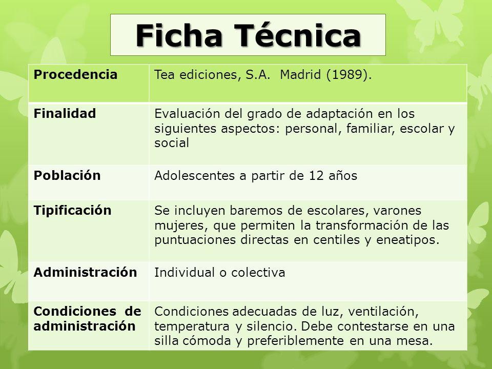 Ficha Técnica Procedencia Tea ediciones, S.A. Madrid (1989). Finalidad