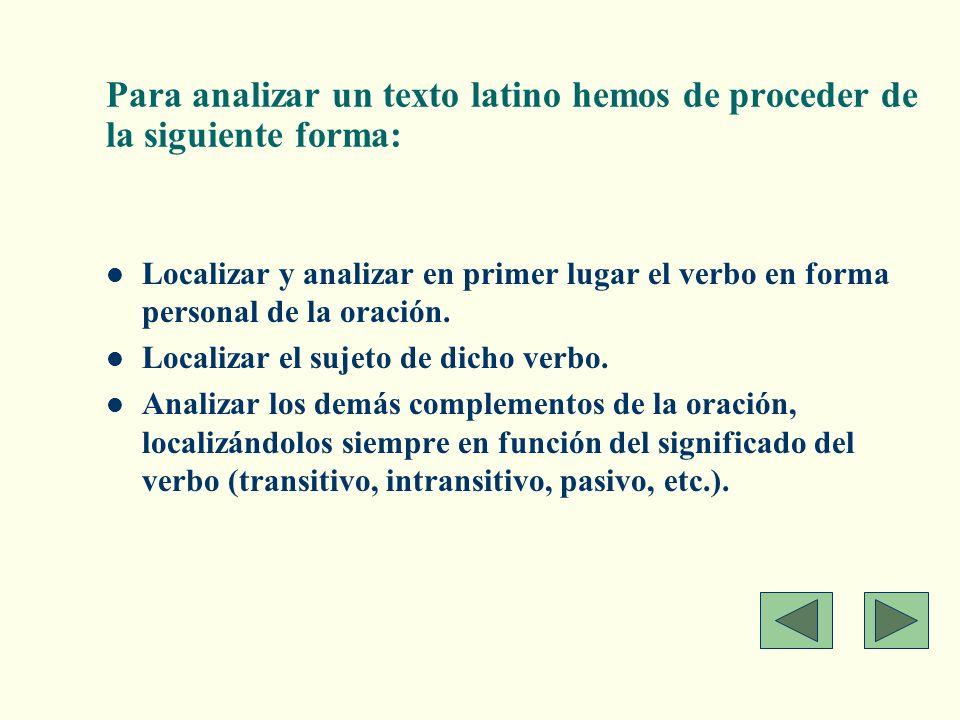 Para analizar un texto latino hemos de proceder de la siguiente forma: