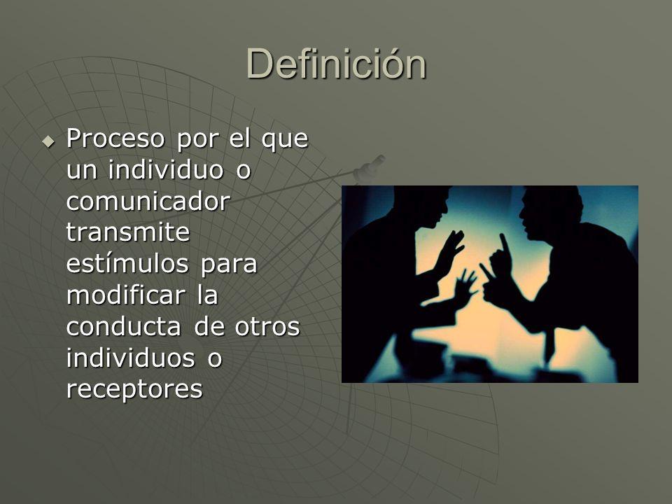 Definición Proceso por el que un individuo o comunicador transmite estímulos para modificar la conducta de otros individuos o receptores.