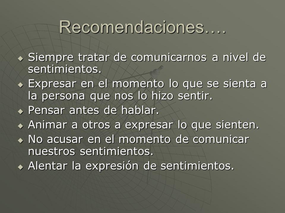 Recomendaciones…. Siempre tratar de comunicarnos a nivel de sentimientos.