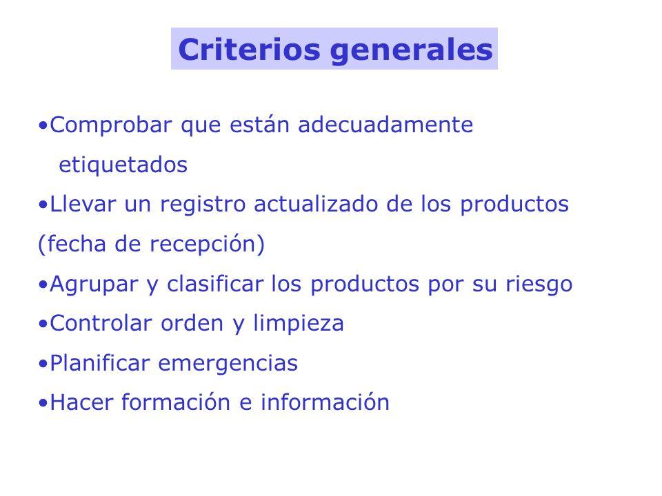 Criterios generales Comprobar que están adecuadamente etiquetados