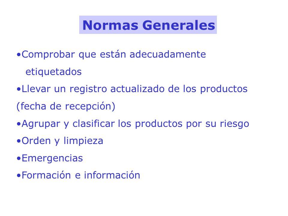 Normas Generales Comprobar que están adecuadamente etiquetados