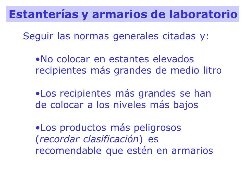 Estanterías y armarios de laboratorio