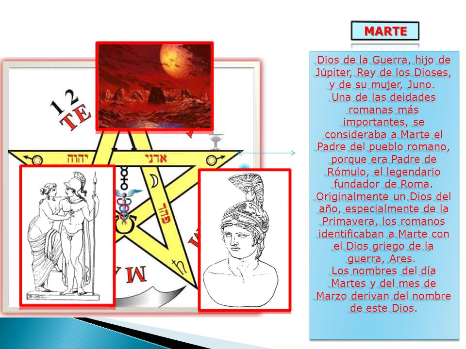 Dios de la Guerra, hijo de Júpiter, Rey de los Dioses, y de su mujer, Juno.