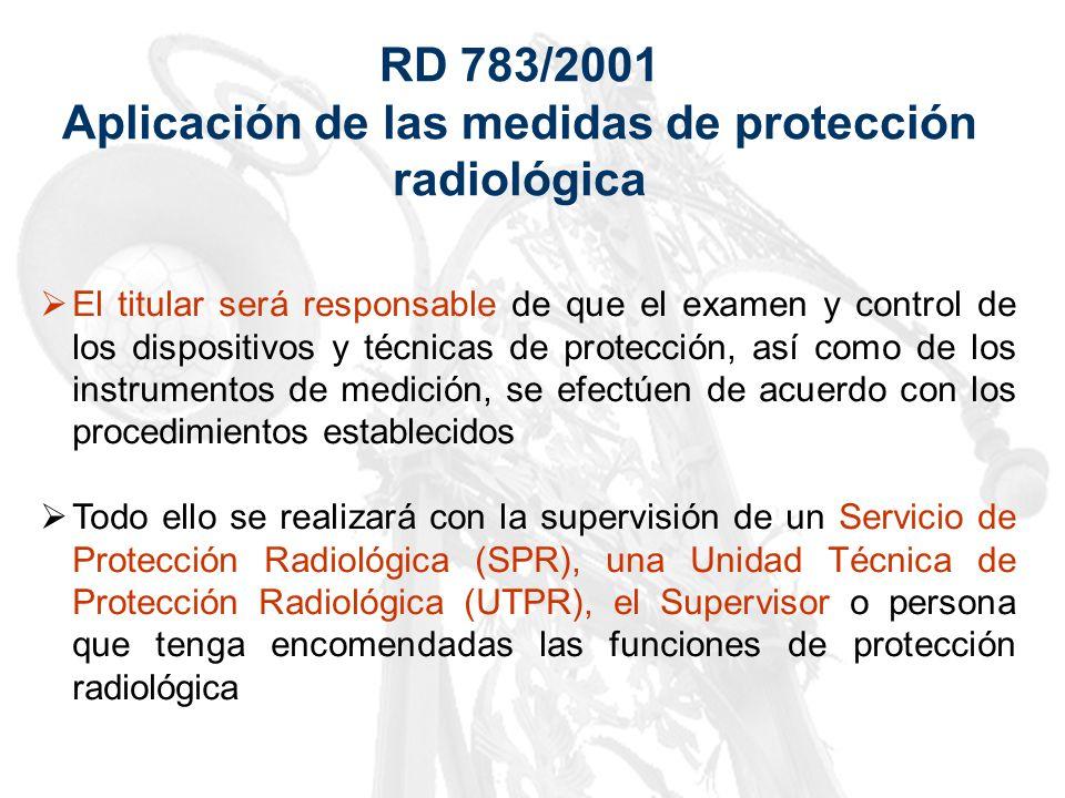 Aplicación de las medidas de protección radiológica