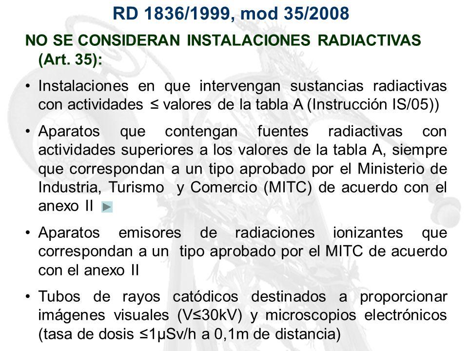 RD 1836/1999, mod 35/2008 NO SE CONSIDERAN INSTALACIONES RADIACTIVAS (Art. 35):