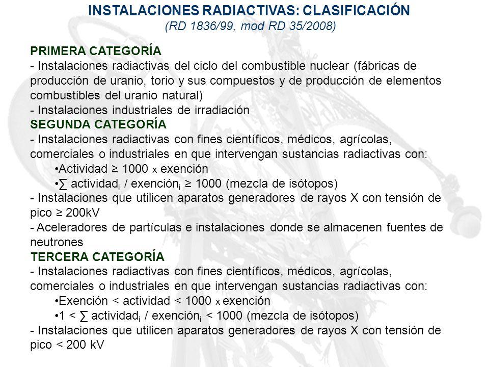 INSTALACIONES RADIACTIVAS: CLASIFICACIÓN