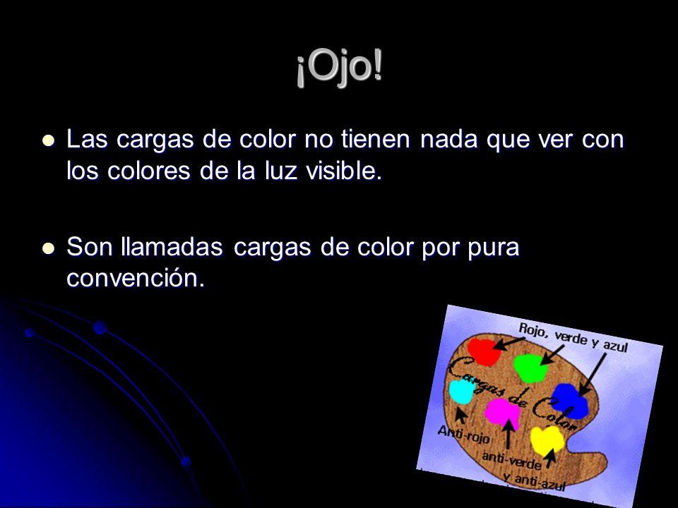 ¡Ojo. Las cargas de color no tienen nada que ver con los colores de la luz visible.