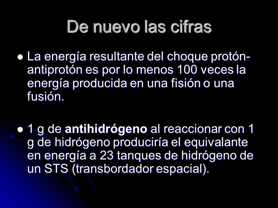 De nuevo las cifras La energía resultante del choque protón-antiprotón es por lo menos 100 veces la energía producida en una fisión o una fusión.
