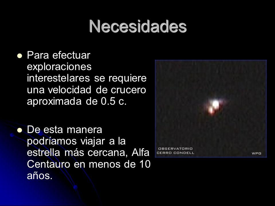 NecesidadesPara efectuar exploraciones interestelares se requiere una velocidad de crucero aproximada de 0.5 c.