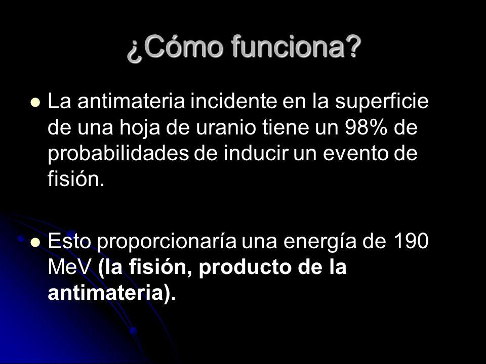 ¿Cómo funciona La antimateria incidente en la superficie de una hoja de uranio tiene un 98% de probabilidades de inducir un evento de fisión.