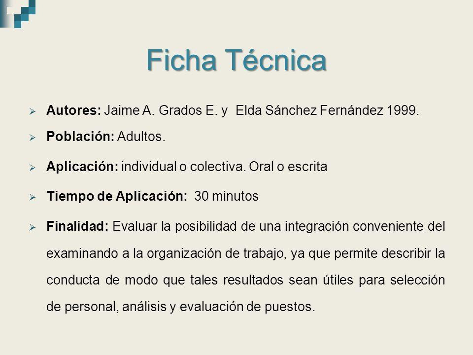 Ficha Técnica Autores: Jaime A. Grados E. y Elda Sánchez Fernández 1999. Población: Adultos. Aplicación: individual o colectiva. Oral o escrita.
