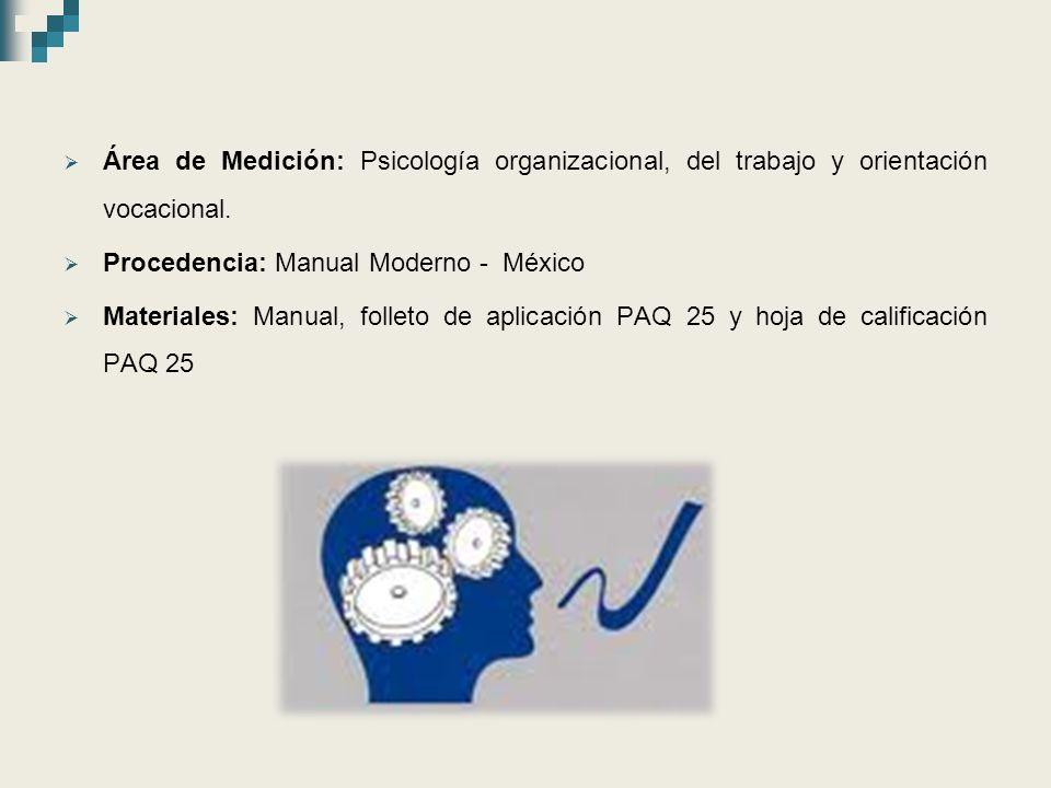 Área de Medición: Psicología organizacional, del trabajo y orientación vocacional.