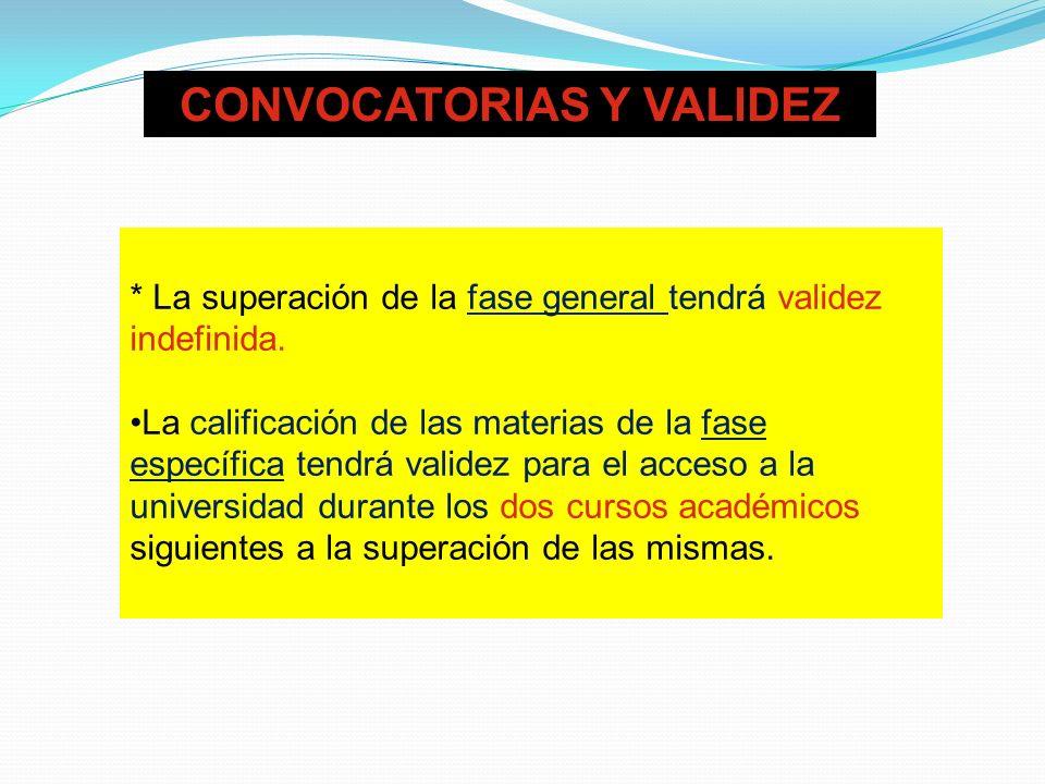CONVOCATORIAS Y VALIDEZ