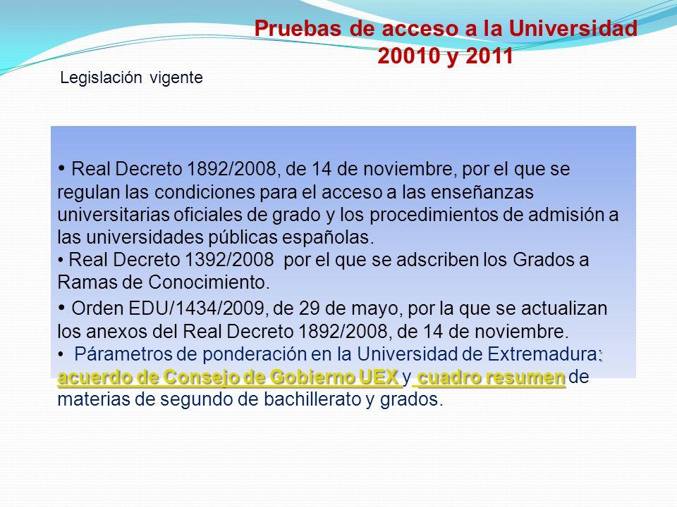 Pruebas de acceso a la Universidad 20010 y 2011