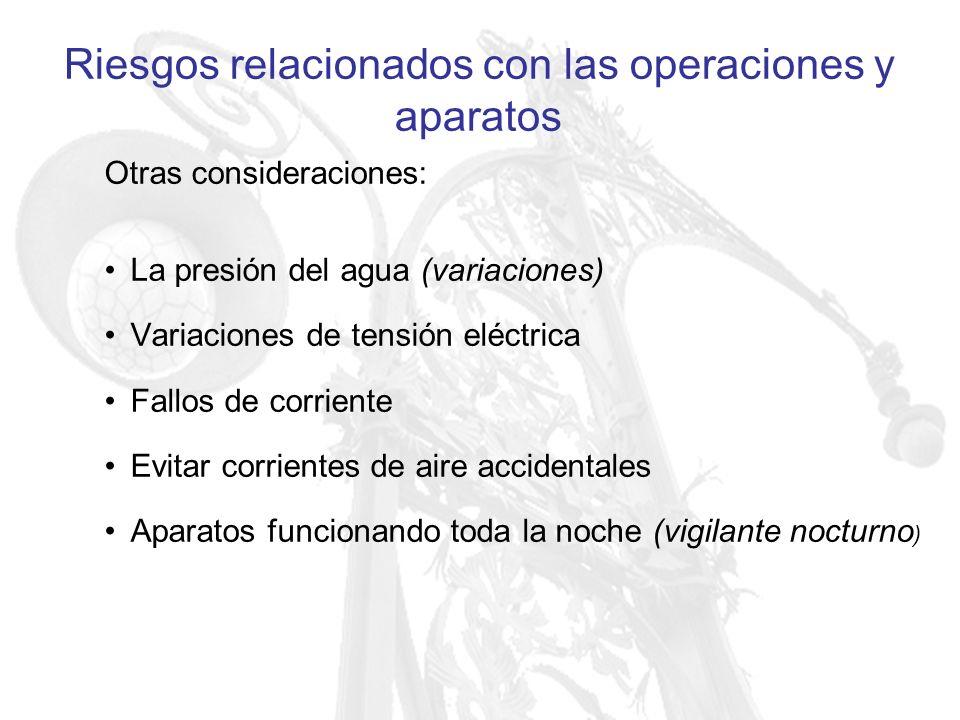 Riesgos relacionados con las operaciones y aparatos