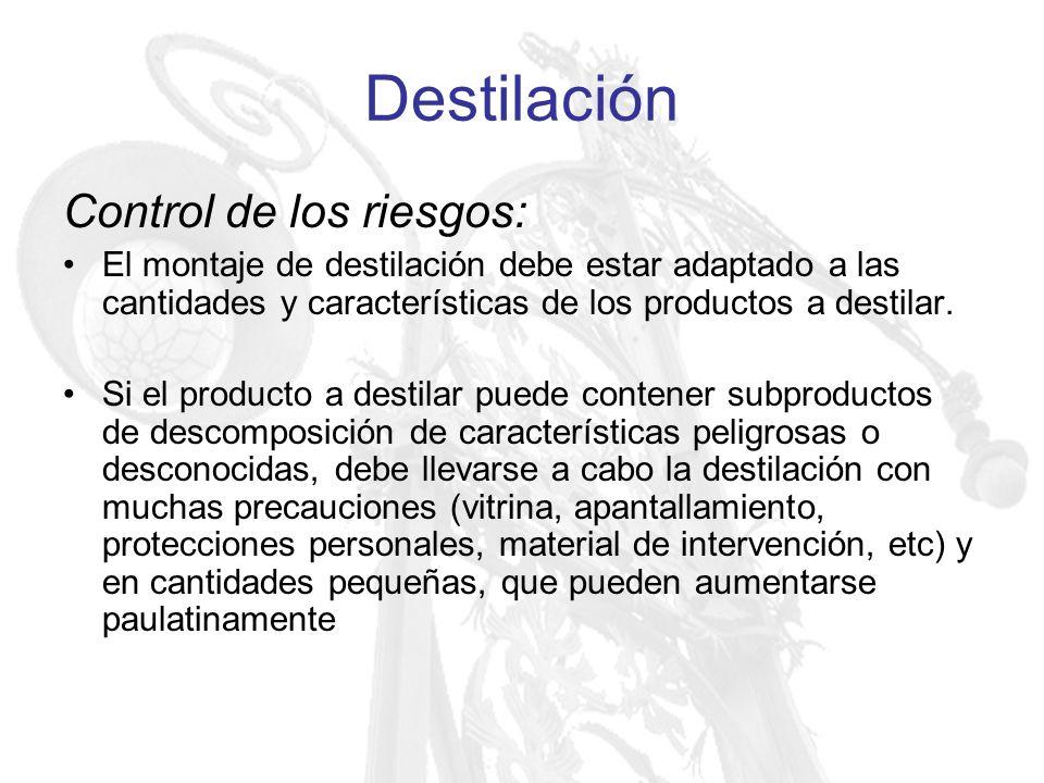 Destilación Control de los riesgos: