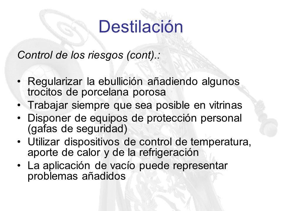 Destilación Control de los riesgos (cont).: