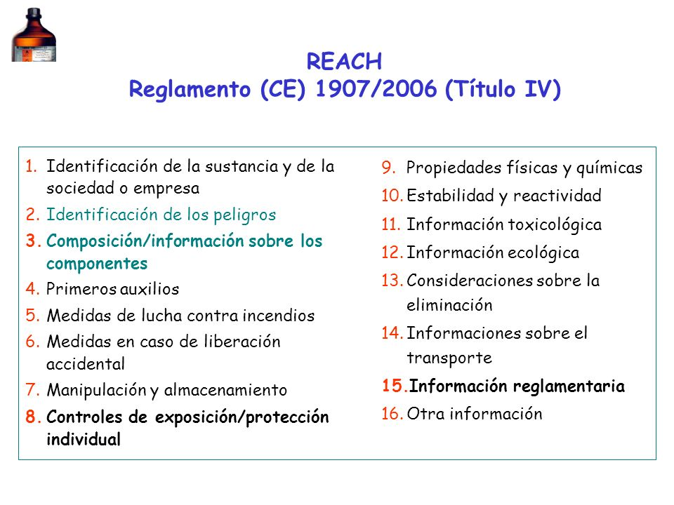 REACH Reglamento (CE) 1907/2006 (Título IV)